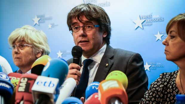 A Belgian judge has granted conditional release to sacked Catalan leader Carles Puigdemont and four of his ministers. Photograph: Aurore Belot/AFP/Getty.