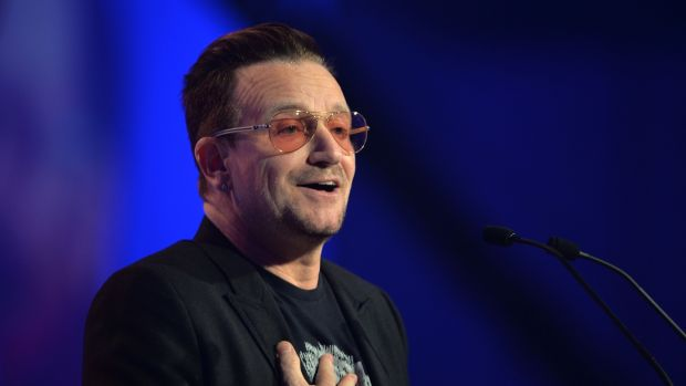 Bono at the European Peoples Party convention in 2014. Photograph: Alan Betson