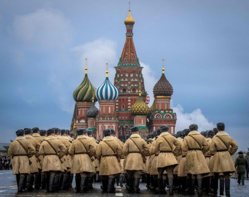 RED SQUARE REHEARSAL: Russian soldiers rehearse ahead of a forthcoming parade on Red Square in Moscow. The event, on November 7th, will mark the 76th anniversary of a 1941 parade when Red Army soldiers marched past the Kremlin towards the front line to fight Nazi Germany in the second World War. Photograph: Mladen Antonov/AFP/Getty Images