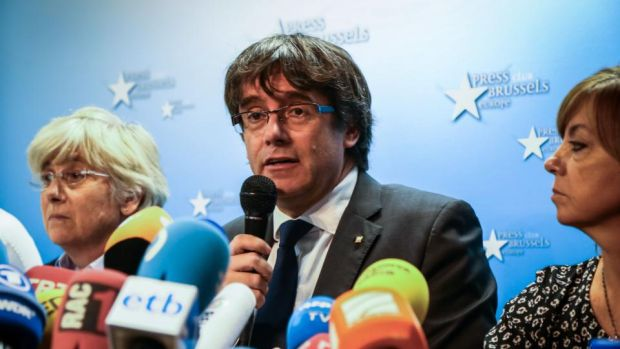 Catalan leader: Carles Puigdemont speaking to journalists in Brussels before he turned himself in. Photograph: Aurore Belot/AFP/Getty
