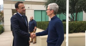Taoiseach Leo Varadkar with Apple chief executive Tim Cook at Apple's headquarters in California last week.