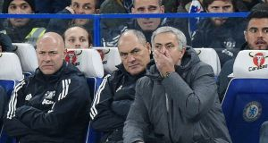 United manager José Mourinho during the match against Chelsea. Photograph: EPA