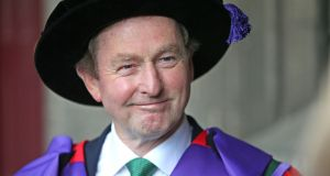 Former taoiseach Enda Kenny at NUI Galway  where he was conferred with an honorary degree of Doctor of Laws (LLD) by the National University of Ireland. Photograph: Joe O'Shaughnessy