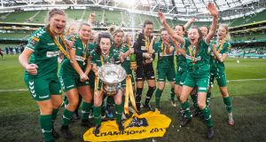 Cork City celebrate winning the Women's FAI Cup at the Aviva Stadium. Photograph: Ryan Byrne/Inpho