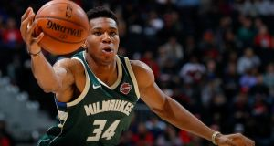 Giannis Antetokounmpo of the Milwaukee Bucks catches a pass against the Atlanta Hawks at Philips Arena in Atlanta, Georgia on October 29th. Photograph: Kevin C Cox/Getty Images