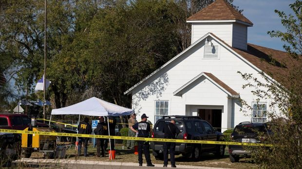 Law enforcement officials investigate a mass shooting at the First Baptist Church in Sutherland Springs, Texas, U.S. November 5, 2017. Photograph: Nick Wagner/Reuters