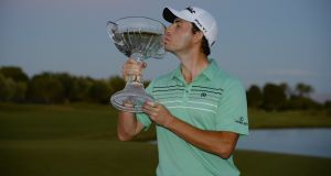 Patrick Cantlay poses with the winner's trophy after winning the Shriners Hospitals For Children Open at the TPC Summerlin in Las Vegas, Nevada. Photograph: Robert Laberge/Getty Images