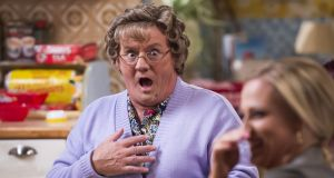 Agnes Brown (Brendan O'Carroll) and Betty Brown (Amanda Woods) in the Mrs Brown's Boys 2016 Christmas special. The offshore scheme was not used by O'Carroll or his wife Jennifer. A trust was set up for Woods but she never made use of the scheme.