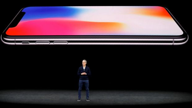 Tim Cook, CEO of Apple, speaks about the iPhone X during a launch event in Cupertino, California on September 12th, 2017. Photograph: Stephen Lam/Reuters.