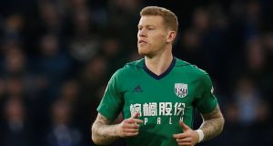 West Brom's James McClean in action against Huddersfield on Saturday. Photograph: Reuters/Andrew Yates