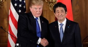 "US president Donald Trump and Japan's prime minister Shinzo Abe. The president said Mr Abe ""is going to be purchasing massive amounts of military equipment from the United States"". Photograph:  Kiyoshi Ota/AFP/Getty Images"