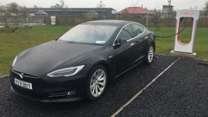 Tesla's Model S at the firm's supercharging station at the Topaz service station just off the M8, outside Ballacolla, Co Laois.