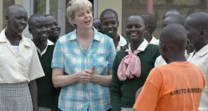 Sr Orla Treacy speaks to pupils at the Loreto secondary school in Rumbek, South Sudan, where she is principal.