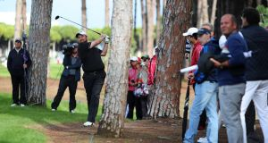 Shane Lowry's second shot on the 7th hole during the final round of the Turkish Airlines Open  in Antalya, Turkey. Photograph:   Richard Heathcote/Getty Images