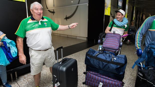 Ireland international rules team manager Joe Kernan and player Shane Walsh arrive in Melbourne airport with the squad ahead of their first Test game against Australia on Sunday at the Adelaide Oval. Photograph: Tommy Dickson/Inpho