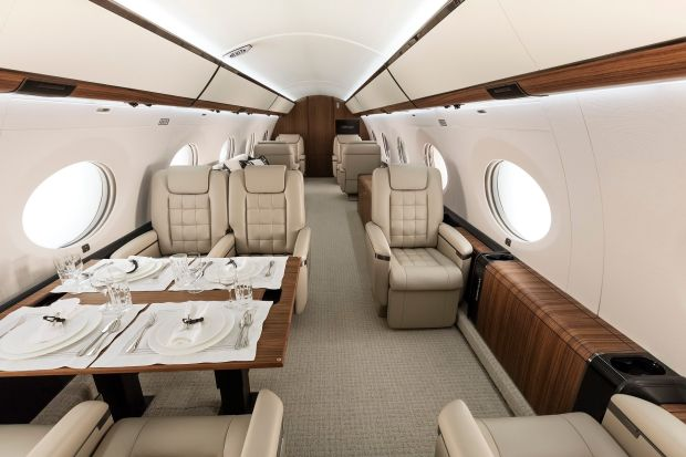 Gulfstream: one of the interior options for a G650, the type of aircraft owned by Denis O'Brien