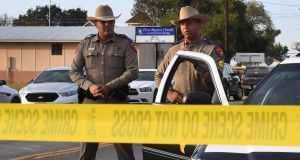 State troopers near the entrance to the First Baptist Church after a mass shooting that killed 26 people in Sutherland Springs, Texas. Photograph: Mark Ralston/AFP/Getty Images