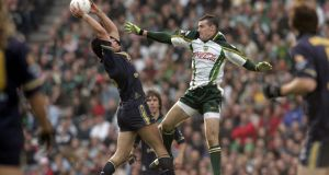Ryan Crowley of Australia and Paul Barden during the second test in 2006. Irish players were attacked before the throw-in and the first quarter was stunningly violent. Photograph: Donall Farmer/Inpho