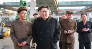 North Korean leader Kim Jong-Un: Shane Ross, Finian McGrath and John Halligan have sought permission for a parliamentary visit to North Korea through the embassy in London. Photograph: Getty/STR/AFP