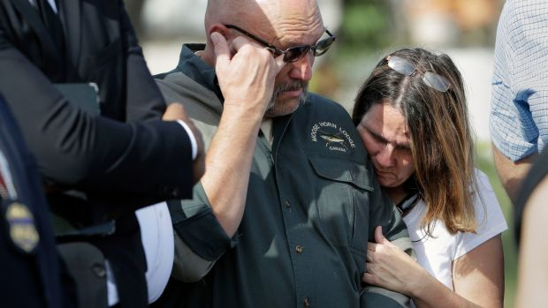 Pastor Frank Pomeroy and his wife Sherri whose daughter, Annabelle (14) was killed in the shooting. Photograph: Eric Gay/AP
