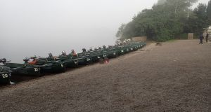The fleet of boats on Menteith awaiting the daily influx of anglers. Photograph: George Barron
