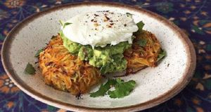 Potato and carrot rostis with avocado and a poached egg. Photograph: Deborah Ryan