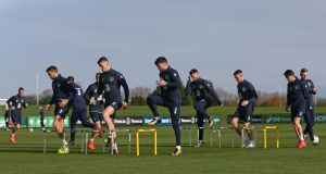 The Republic of Ireland squad during a training session at the FAI National Training Centre, Abbotstown. Ireland take on Denmark in the first leg of their World Cup playoff in Copenhagen this Saturday. Photo: Niall Carson/PA Wire
