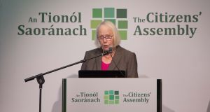 Chair of the Citizen's Assembly,  the Honourable Ms Mary Laffoy: the 13 proposed measures that emerged are rooted in pragmatism vital for what's immediately facing Ireland and the world. Photograph: Tom Honan.