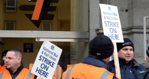 Irish Rail staff picketing  at Connolly Station in Dublin on Tuesday. Photograph: Dara Mac Dónaill/The Irish Times.