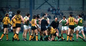A fight breaks out between Ireland and Australia players in the 1987 International Rules Series. Photograph: Billy Stickland/Inpho