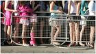 Girls queue up to get into Wesley disco in Donnybrook. Photograph: Alan Betson