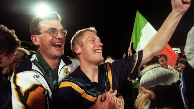 Ireland manager Colm O'Rourke and Graham Geraghty celebrate at the end of the 1999 match. Photo: Tom Honan/Inpho