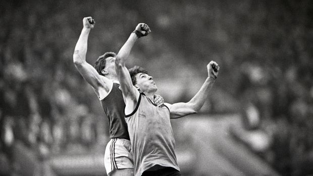 Australia's Jim Stynes jumps for the ball during the 1987 International Rules. Photo: Billy Stickland/Inpho