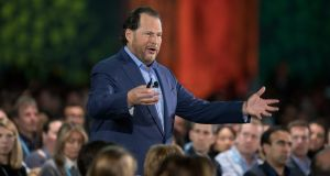 Marc Benioff, chairman and chief executive officer of Salesforce.com,  delivers the keynote speech during the DreamForce Conference in San Francisco.