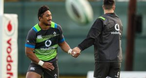 Bundee Aki and Conor Murray during Ireland training ahead of the November Series opener against South Africa. Photo: Billy Stickland/Inpho