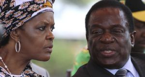 Zimbabwean president Robert Mugabe's wife Grace Mubage, with Emmerson  Mnangagwa  – whom Mr Mugabe has dismissed as vice president – at a gathering of the Zanu-PF party's politburo in Harare on February 10th, 2016. Photograph: Philimon Bulawayo/Reuters