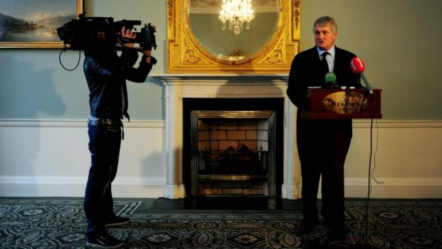 Paradise Papers: Denis O'Brien at a press conference about the Moriarty tribunal, at the Merrion Hotel in Dublin in 2010. Photograph: Aidan Crawley