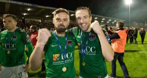 Cork City's Greg Bolger and Karl Sheppard celebrate winning the league. Photo: Inpho