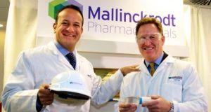 Taoiseach Leo Varadkar with Mark Trudeau, president and chief executive of Irish-domiciled drugmaker Mallinckrodt: net sales fell 10.5 per cent in the third quarter.