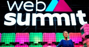European Commissioner for Competition Margrethe Vestager delivers a speech during the 2017 Web Summit in Lisbon. Photograph:  Patricia De Melo Moreira/AFP/Getty Images