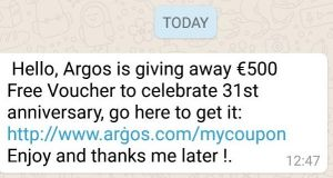 The fake Argos message scammers are spreading across Irish WhatsApp accounts.
