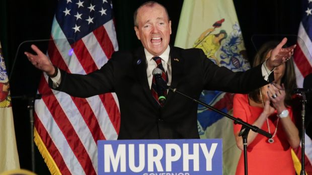 New Jersey governor-elect Phil Murphy speaking at an election night rally in Asbury Park, New Jersey. Photograph: Eduardo Munoz Alvarez/Getty Images
