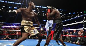 Deontay Wilder knocked out Bermane Stiverne in New York. Photograph: Al Bello/Getty