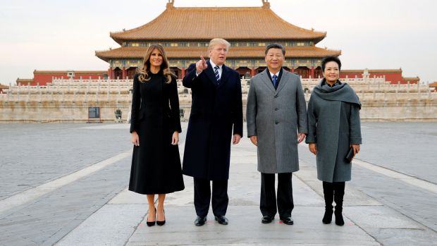 US president Donald Trump and first lady Melania visit the Forbidden City with China's President Xi Jinping and first lady Peng Liyuan in Beijing. Photograph: Jonathan Ernst/Reuters