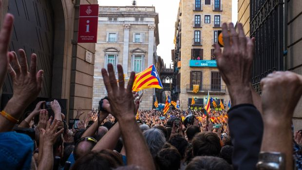 Crowds filled Placa de Sant Jaume in Barcelona on October 27th after the Catalan Parliament ratified the Yes outcome of the independence referendum held on October 1st. Photograph: Dave Walsh
