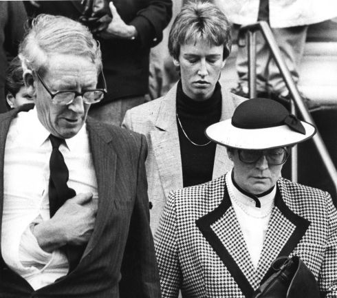 Gordon Wilson and his wife Joan, the parents of the 20-year-old nurse, Marie Wilson (who was killed in the bombing)  leaving the church in Enniskillen after her funeral service.  Photograph: Paddy Whelan / The Irish Times