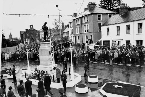The British Prime Minister. Mrs Thatcher , and the Northern Ireland Secretary, Mr King, laying a wreath at the war memorial during a commemoration in Enniskillen.   Photograph: Matt Kavanagh / The Irish Times