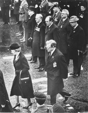 The British Prime Minister, Mrs Thatcher, at the ceremony of remembrance in Enniskillen a fortnight after the attrocity.  Behind her was Mr Tom King, Northern Ireland Secretary of State.  Photograph: Matt Kavanagh / The Irish Times