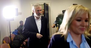Sinn Féin's president Gerry Adams and leader in Northern Ireland Michelle O'Neill: party has bent the old Fine Gael and Fianna Fáil order out of shape, creating a grand coalition against it. Photograph: Peter Morrisson/Reuters