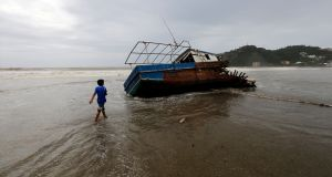 Wreckage of a boat in Rivas, Nicaragua, following Tropical Storm Nate in October. Photograph: Inti Ocon/AFP/Getty Images